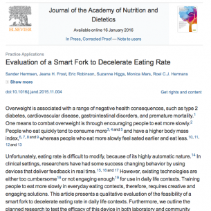 The first paper of our project Take it Slow, on vibrotactile feedback to decelerate eating rate, was published in the Journal of the Academy of Nutrition and Dietetics