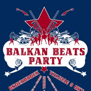 Poster for a Balkan Beats party in cafe Onderbroek.