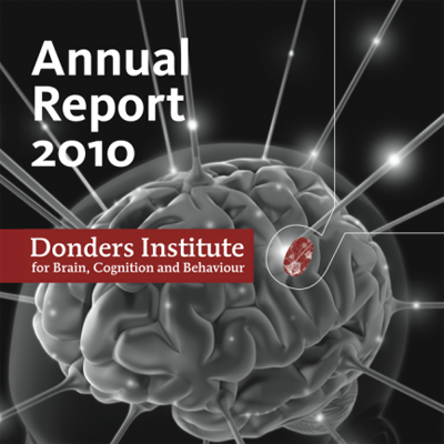 The annual report of the Donders Institute for Brain, Cognition and Behaviour, an institute of the Radboud University in Nijmegen. 16 pages, offset printing, with infographics based on the Donders visual identity.