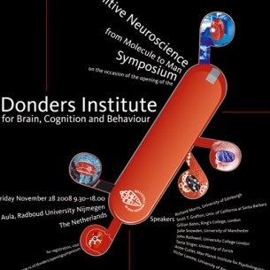 A poster and a flyer for the opening symposium of the Donders Institute for Brain, Cognition and Behaviour at the Radboud University Nijmegen.