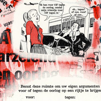 A placemat with a gulf war theme for a restaurant in Nijmegen.