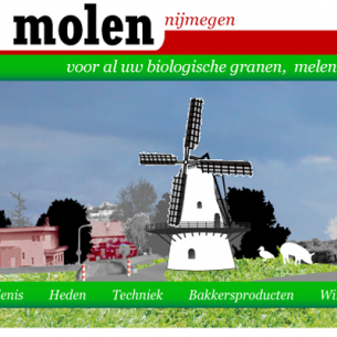A wind-driven website for De Witte Molen, windmill, organical bakery products, flourproducer and store in Nijmegen.